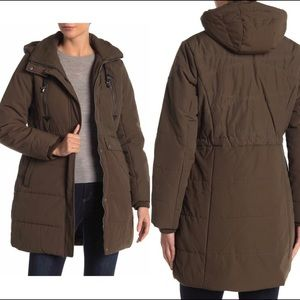 Lucky brand faux shearling lines hooded parka